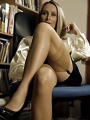 Stunning busty business lady in hot vintage stockings